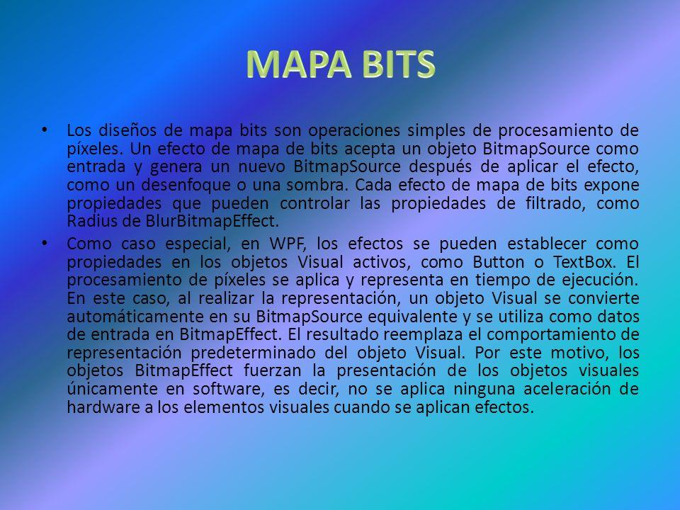 Los diseños de mapa bits son operaciones simples de procesamiento de píxeles.