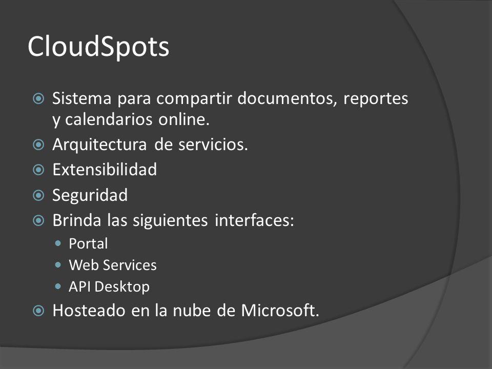 CloudSpots Sistema para compartir documentos, reportes y calendarios online. Arquitectura de servicios. Extensibilidad Seguridad Brinda las siguientes