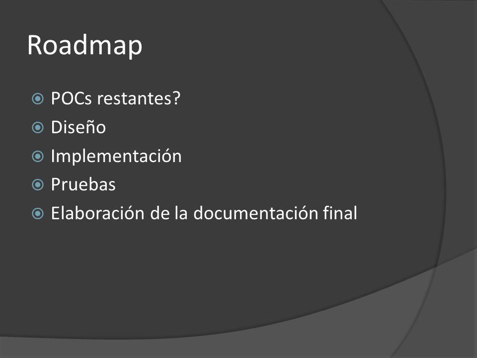 Roadmap POCs restantes? Diseño Implementación Pruebas Elaboración de la documentación final
