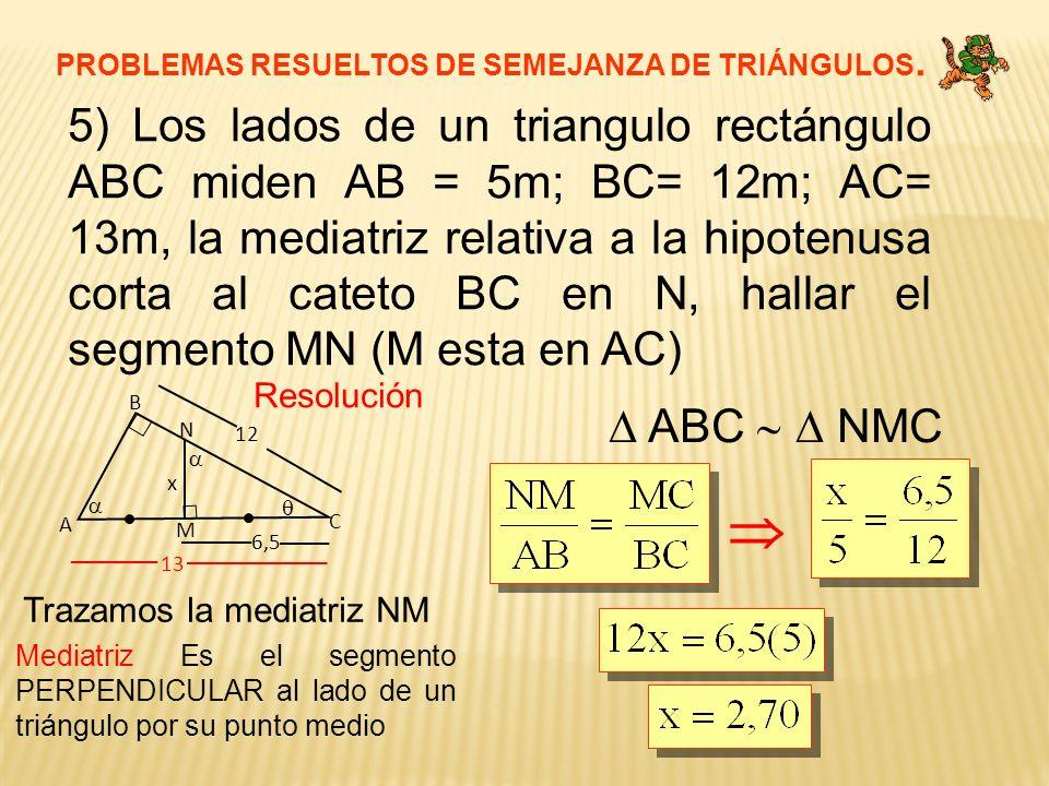 PROBLEMAS RESUELTOS DE SEMEJANZA DE TRIÁNGULOS. 5) Los lados de un triangulo rectángulo ABC miden AB = 5m; BC= 12m; AC= 13m, la mediatriz relativa a l