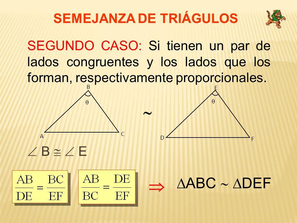 SEMEJANZA DE TRIÁGULOS SEGUNDO CASO: Si tienen un par de lados congruentes y los lados que los forman, respectivamente proporcionales. B E ABC DEF C A