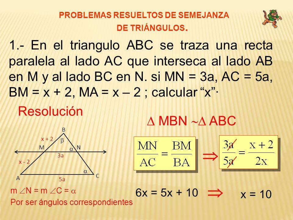 PROBLEMAS RESUELTOS DE SEMEJANZA DE TRIÁNGULOS. 1.- En el triangulo ABC se traza una recta paralela al lado AC que interseca al lado AB en M y al lado