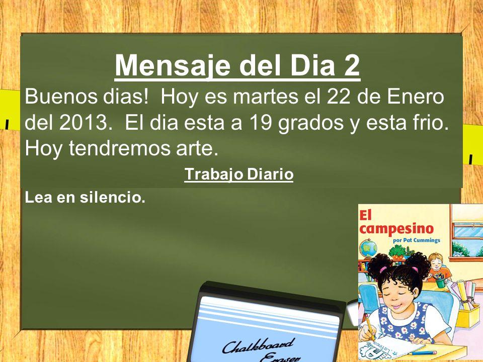 Mensaje del Dia 2 Buenos dias.Hoy es martes el 22 de Enero del 2013.
