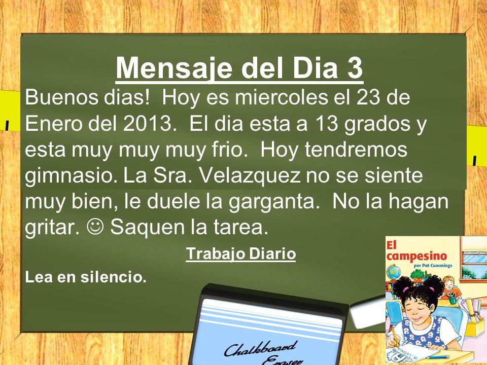 Mensaje del Dia 3 Buenos dias.Hoy es miercoles el 23 de Enero del 2013.