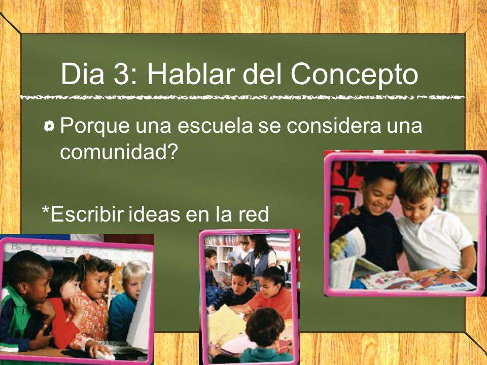 Dia 3: Hablar del Concepto Porque una escuela se considera una comunidad? *Escribir ideas en la red