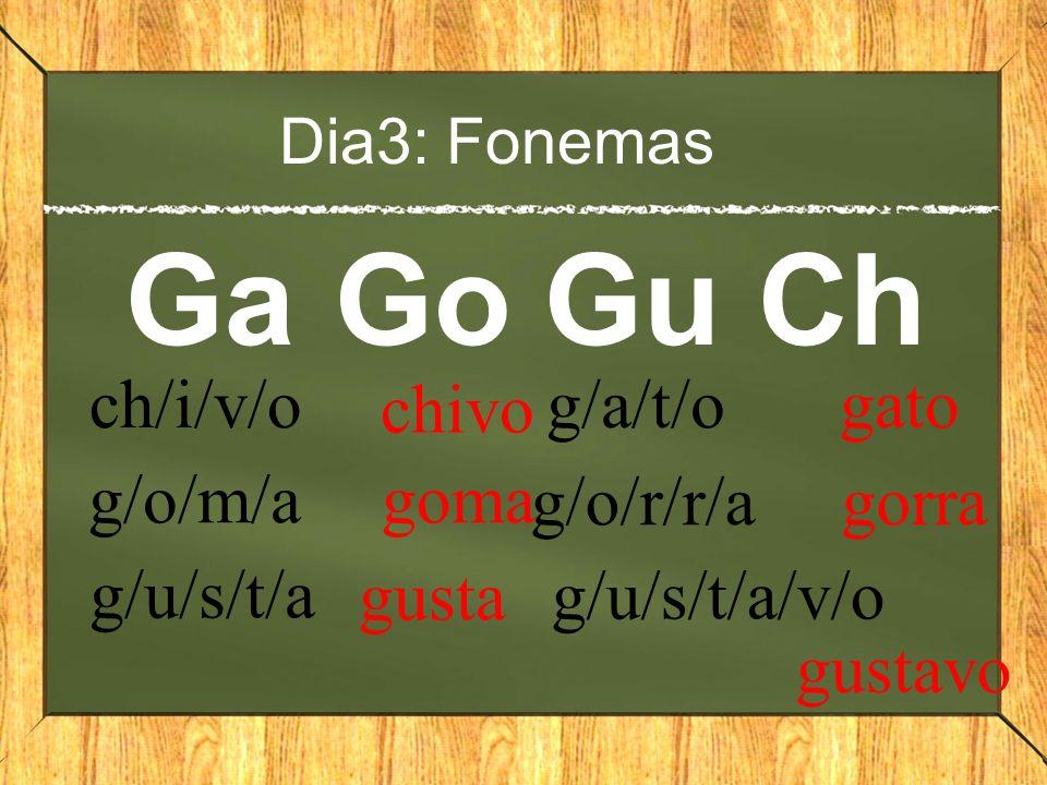 Dia3: Fonemas GaGoGu Ch ch/i/v/o chivo g/o/m/a goma g/u/s/t/a gusta g/a/t/o gato g/o/r/r/a gorra g/u/s/t/a/v/o gustavo