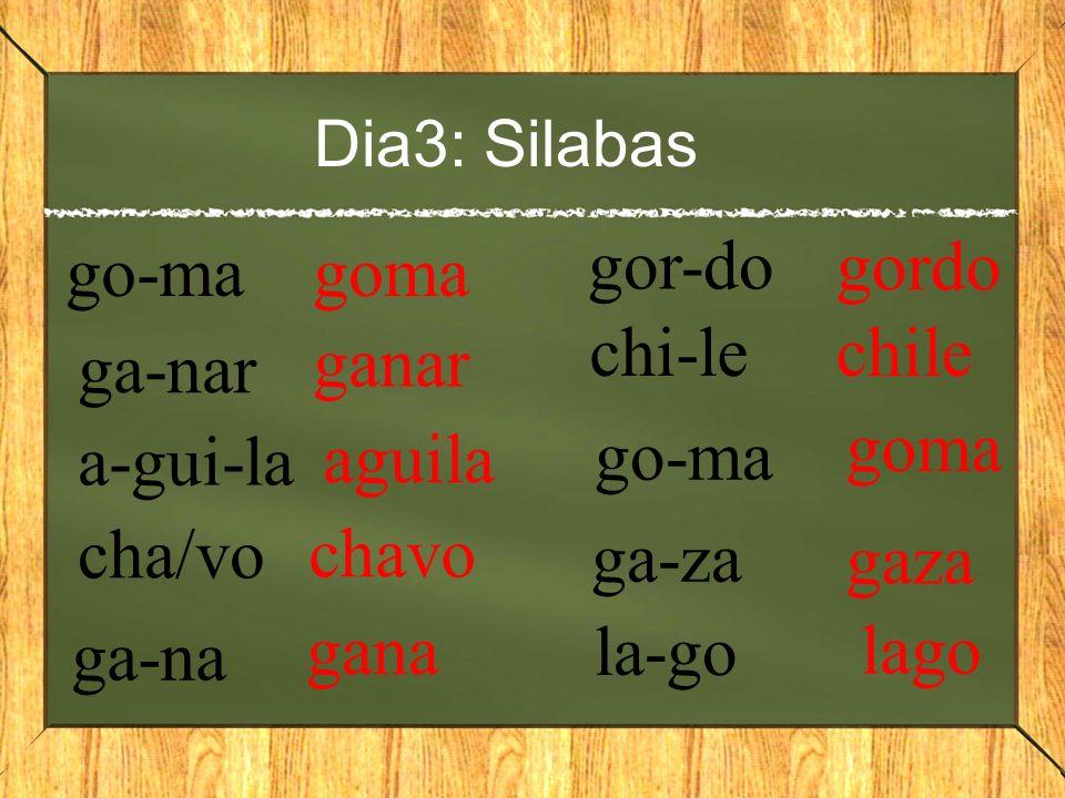 Dia3: Silabas go-ma goma ga-nar ganar a-gui-la aguila cha/vo chavo ga-na gana gor-do gordo chi-le chile go-ma ga-za la-go goma gaza lago