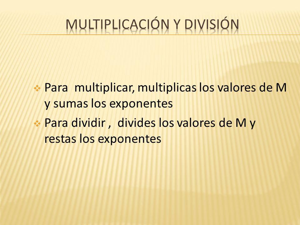 Para multiplicar, multiplicas los valores de M y sumas los exponentes Para dividir, divides los valores de M y restas los exponentes