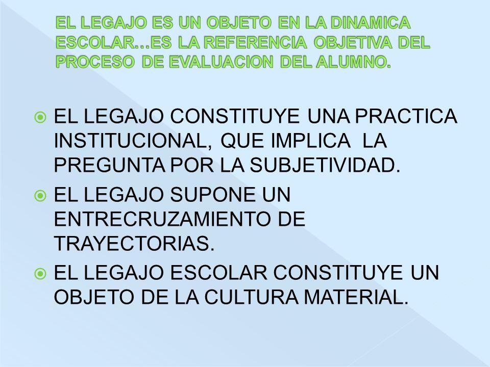 EL LEGAJO CONSTITUYE UNA PRACTICA INSTITUCIONAL, QUE IMPLICA LA PREGUNTA POR LA SUBJETIVIDAD.