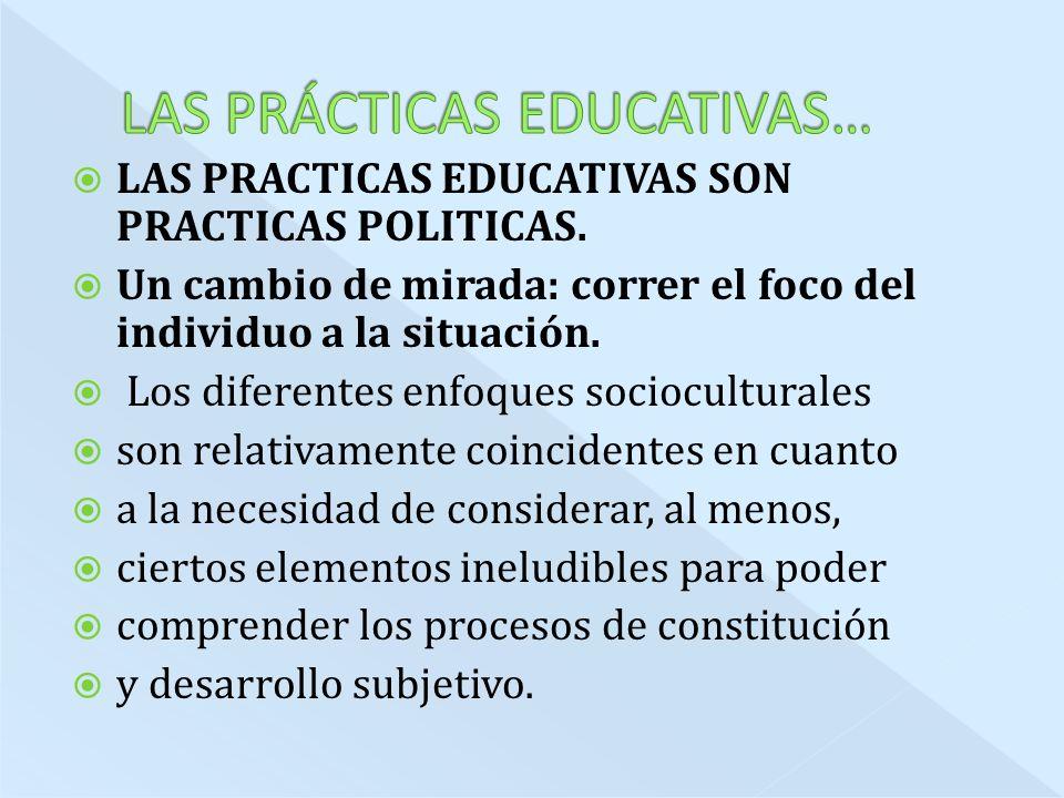 LAS PRACTICAS EDUCATIVAS SON PRACTICAS POLITICAS.
