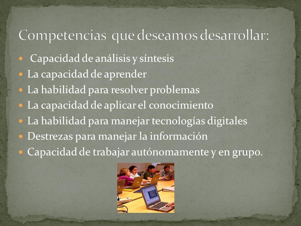 Capacidad de análisis y síntesis La capacidad de aprender La habilidad para resolver problemas La capacidad de aplicar el conocimiento La habilidad pa