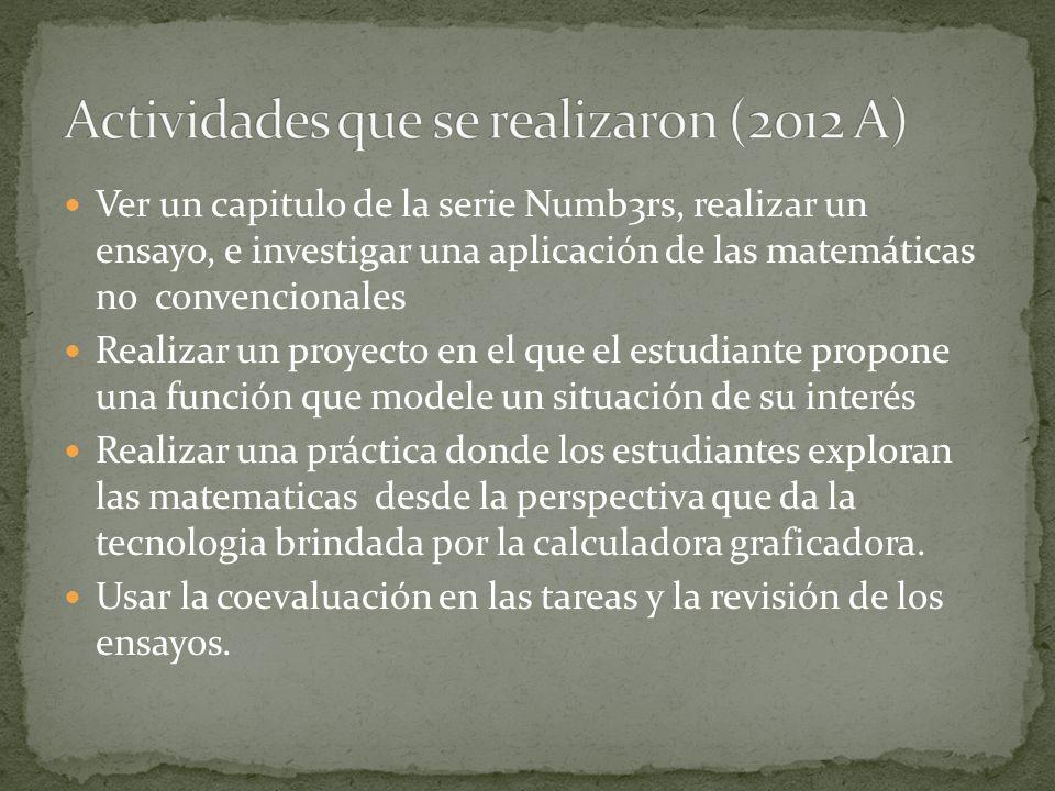 Ver un capitulo de la serie Numb3rs, realizar un ensayo, e investigar una aplicación de las matemáticas no convencionales Realizar un proyecto en el q