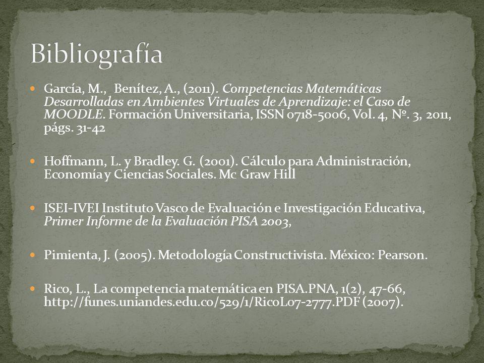 García, M., Benítez, A., (2011). Competencias Matemáticas Desarrolladas en Ambientes Virtuales de Aprendizaje: el Caso de MOODLE. Formación Universita