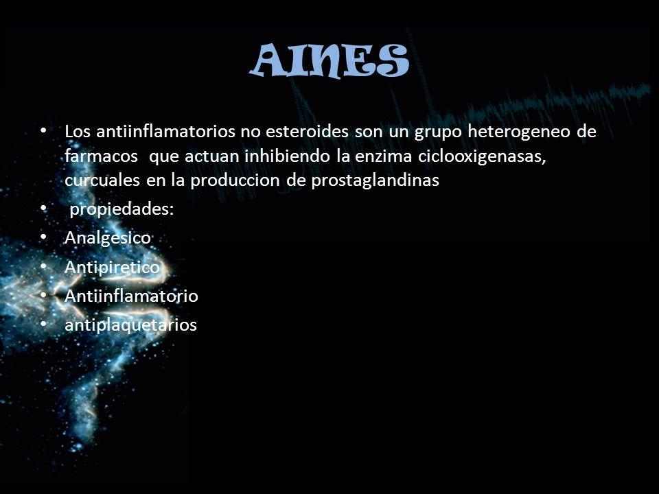AINES Los antiinflamatorios no esteroides son un grupo heterogeneo de farmacos que actuan inhibiendo la enzima ciclooxigenasas, curcuales en la produc