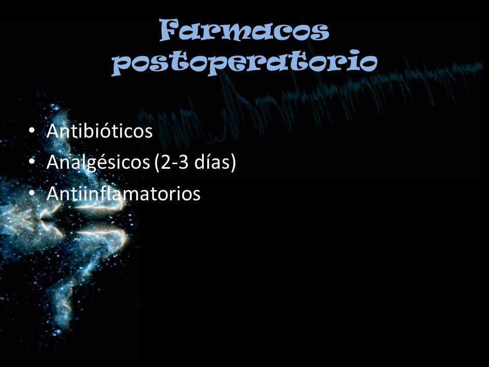 Farmacos postoperatorio Antibióticos Analgésicos (2-3 días) Antiinflamatorios