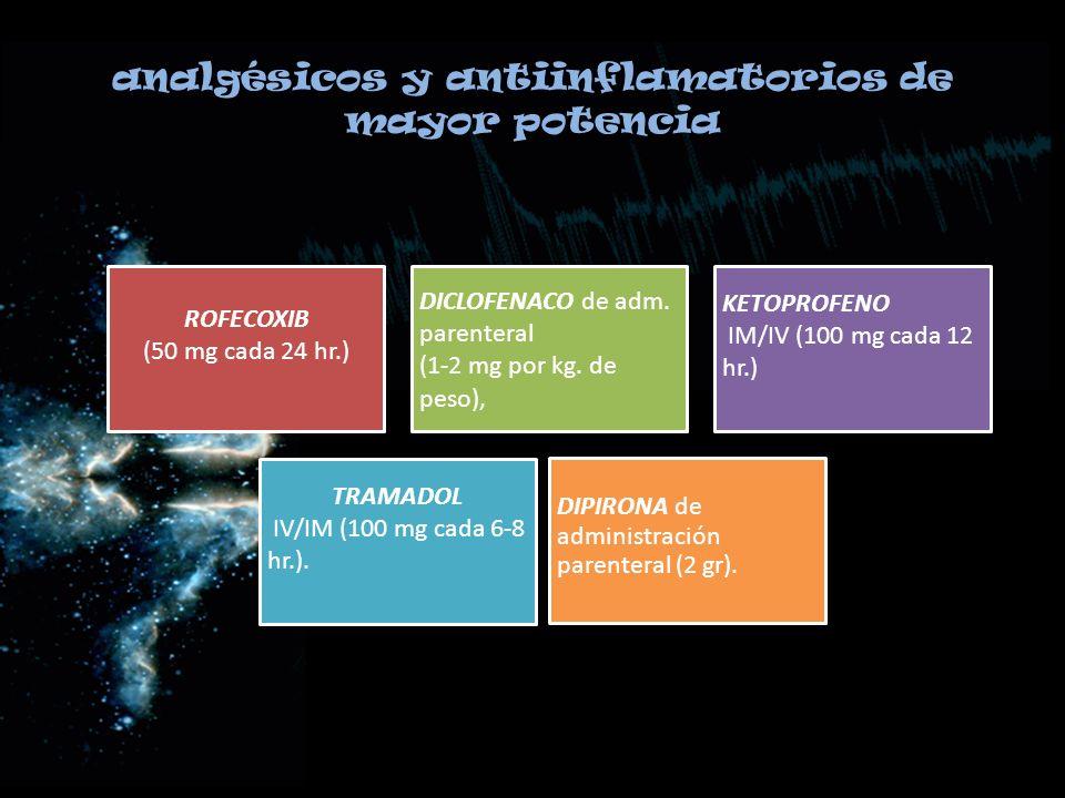 analgésicos y antiinflamatorios de mayor potencia ROFECOXIB (50 mg cada 24 hr.) DICLOFENACO de adm. parenteral (1-2 mg por kg. de peso), KETOPROFENO I