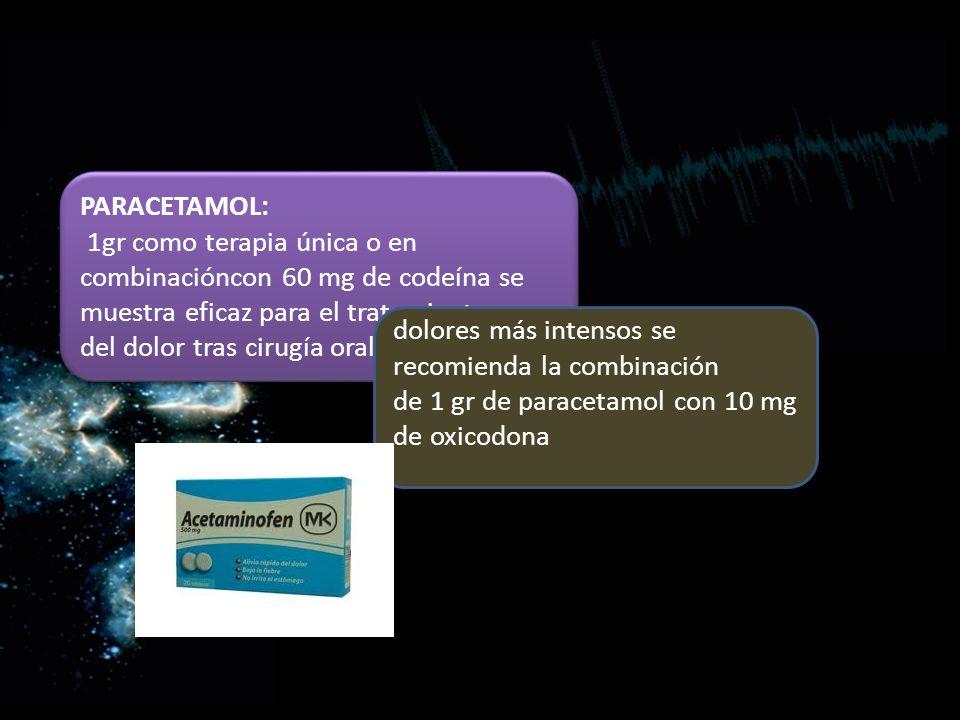 PARACETAMOL: 1gr como terapia única o en combinacióncon 60 mg de codeína se muestra eficaz para el tratamiento del dolor tras cirugía oral PARACETAMOL