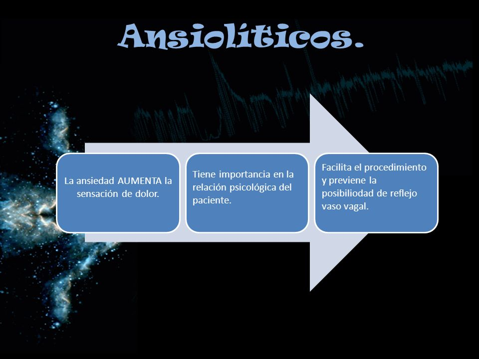 Ansiolíticos. La ansiedad AUMENTA la sensación de dolor. Tiene importancia en la relación psicológica del paciente. Facilita el procedimiento y previe