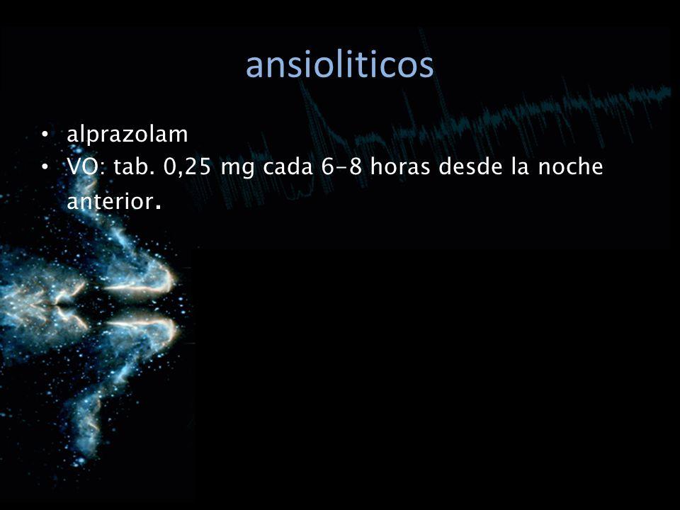 ansioliticos alprazolam VO: tab. 0,25 mg cada 6-8 horas desde la noche anterior.