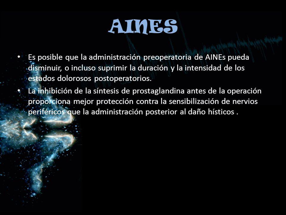 AINES Es posible que la administración preoperatoria de AINEs pueda disminuir, o incluso suprimir la duración y la intensidad de los estados dolorosos