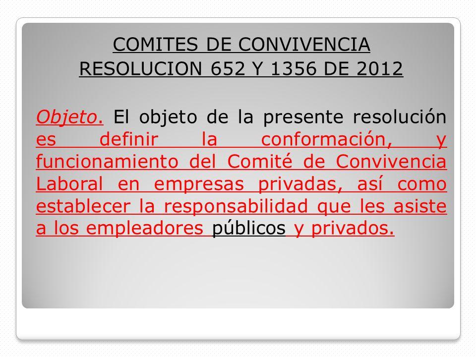 COMITES DE CONVIVENCIA RESOLUCION 652 Y 1356 DE 2012 Objeto. El objeto de la presente resolución es definir la conformación, y funcionamiento del Comi