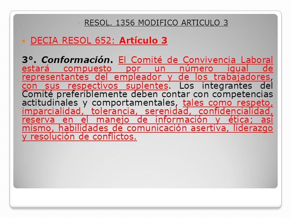 RESOL. 1356 MODIFICO ARTICULO 3 DECIA RESOL 652: Artículo 3 3°. Conformación. El Comité de Convivencia Laboral estará compuesto por un número igual de