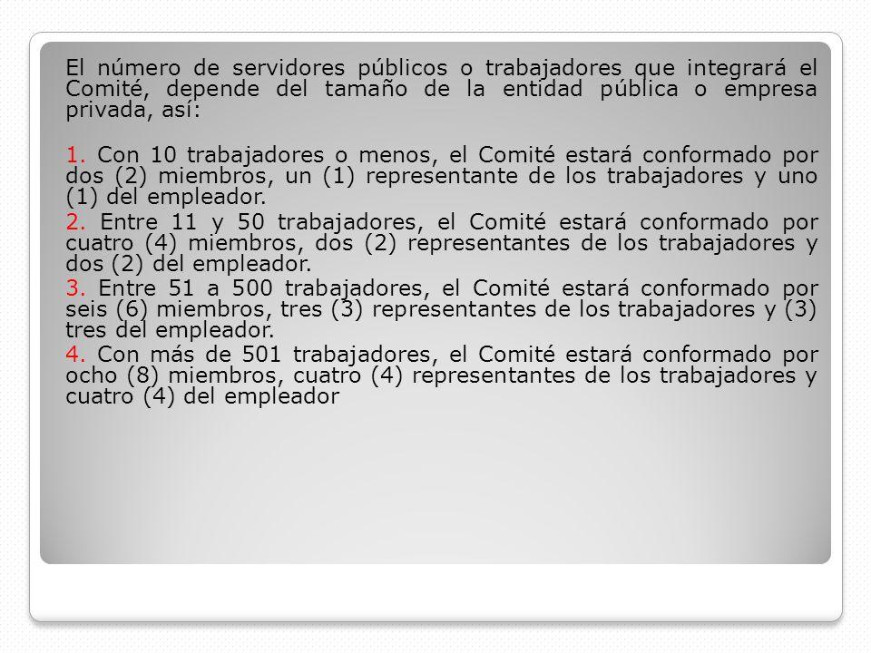 El número de servidores públicos o trabajadores que integrará el Comité, depende del tamaño de la entidad pública o empresa privada, así: 1. Con 10 tr