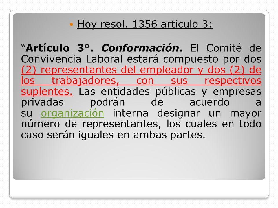 Hoy resol. 1356 articulo 3: Artículo 3°. Conformación. El Comité de Convivencia Laboral estará compuesto por dos (2) representantes del empleador y do