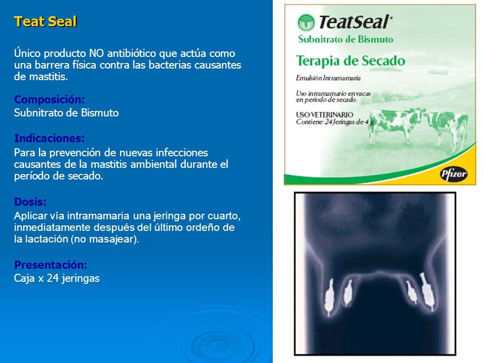 12 Teat Seal Único producto NO antibiótico que actúa como una barrera física contra las bacterias causantes de mastitis. Composición: Subnitrato de Bi