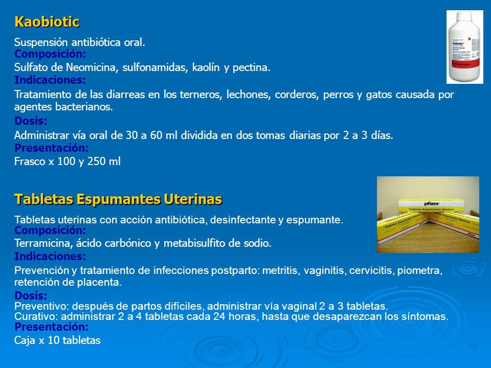 13 Kaobiotic Suspensión antibiótica oral. Composición: Sulfato de Neomicina, sulfonamidas, kaolín y pectina. Indicaciones: Tratamiento de las diarreas