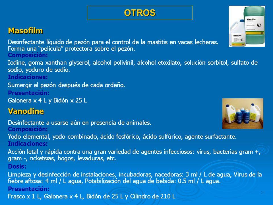 21 Masofilm Desinfectante líquido de pezón para el control de la mastitis en vacas lecheras. Forma una película protectora sobre el pezón. Composición