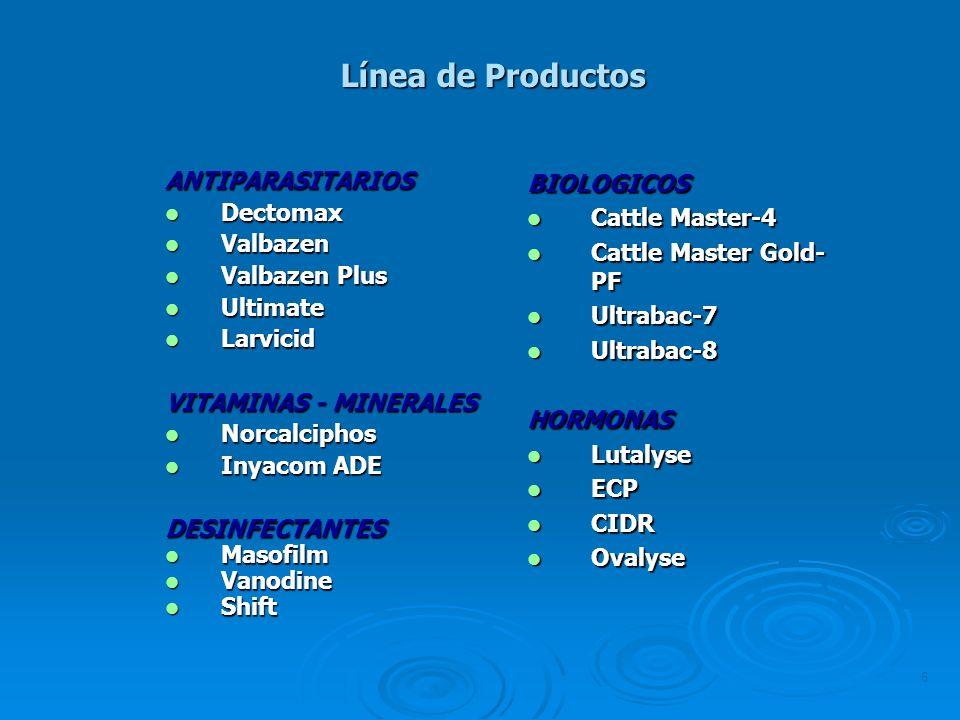 6 ANTIPARASITARIOS Dectomax Dectomax Valbazen Valbazen Valbazen Plus Valbazen Plus Ultimate Ultimate Larvicid Larvicid VITAMINAS - MINERALES Norcalcip