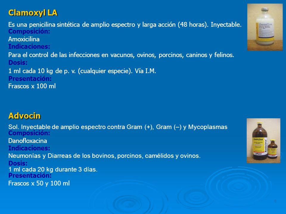 8 Clamoxyl LA Es una penicilina sintética de amplio espectro y larga acción (48 horas). Inyectable. Composición: Amoxicilina Indicaciones: Para el con