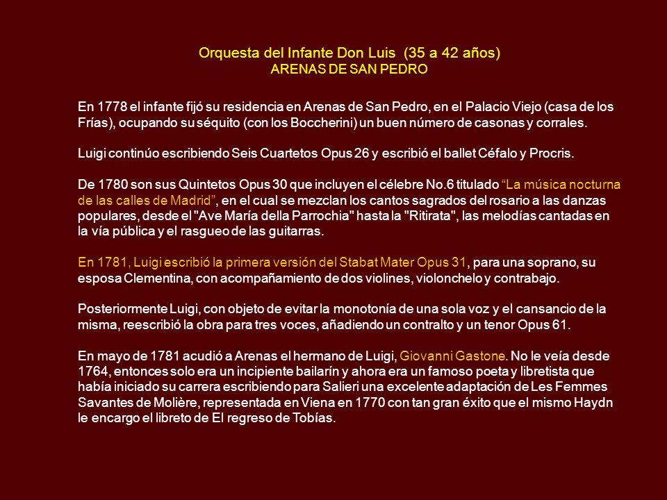 Orquesta del Infante don Luis (33 a 35 años) OLIAS DEL REY-VELADA-CADALSO El 27 de junio de 1776, el infante Don Luis de Borbón, al que su hermano Car
