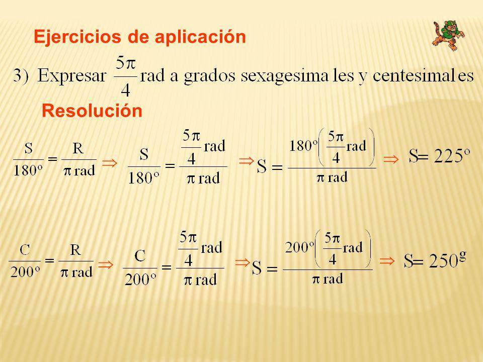 Ejercicios de aplicación Resolución