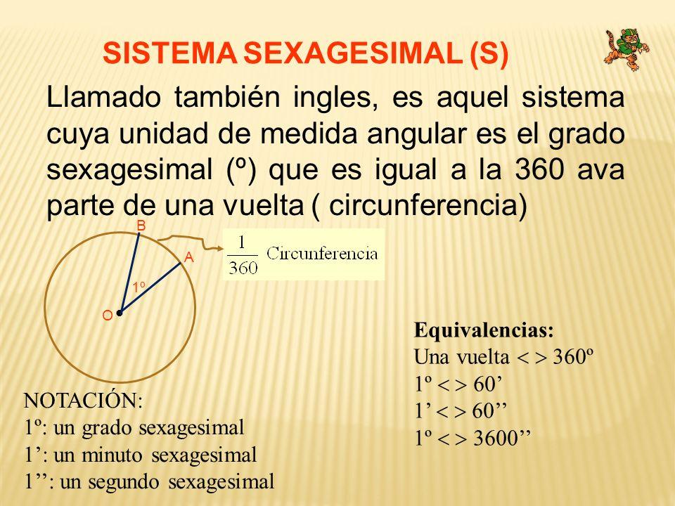 SISTEMA SEXAGESIMAL (S) Llamado también ingles, es aquel sistema cuya unidad de medida angular es el grado sexagesimal (º) que es igual a la 360 ava p