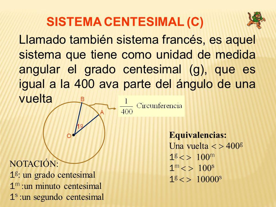SISTEMA CENTESIMAL (C) Llamado también sistema francés, es aquel sistema que tiene como unidad de medida angular el grado centesimal (g), que es igual