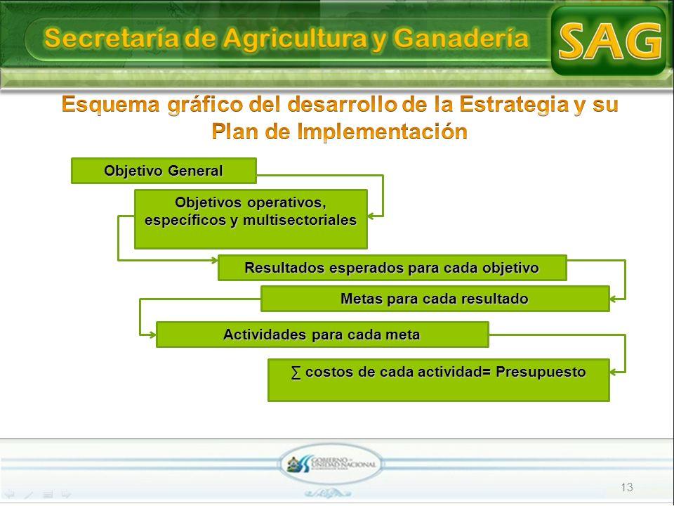 13 Objetivo General Objetivos operativos, específicos y multisectoriales Resultados esperados para cada objetivo Actividades para cada meta costos de