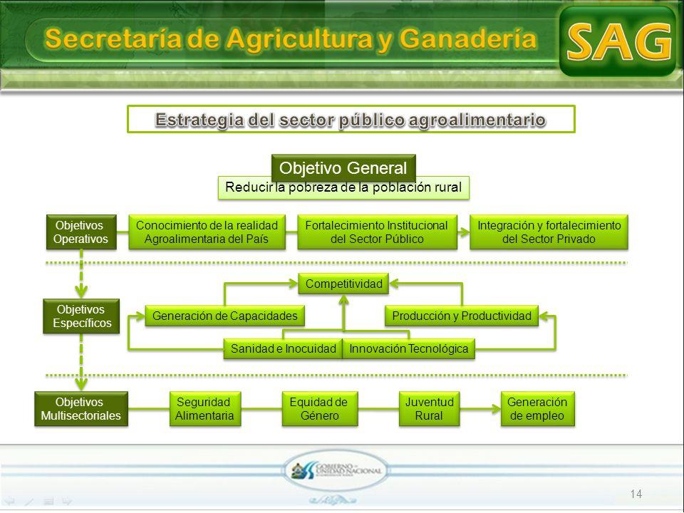 14 Reducir la pobreza de la población rural Objetivo General Objetivos Operativos Objetivos Operativos Fortalecimiento Institucional del Sector Públic