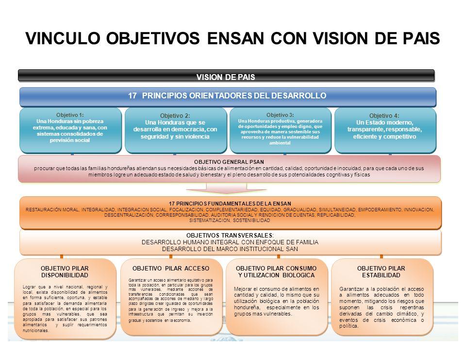 VINCULO OBJETIVOS ENSAN CON VISION DE PAIS OBJETIVOS TRANSVERSALES: DESARROLLO HUMANO INTEGRAL CON ENFOQUE DE FAMILIA DESARROLLO DEL MARCO INSTITUCION