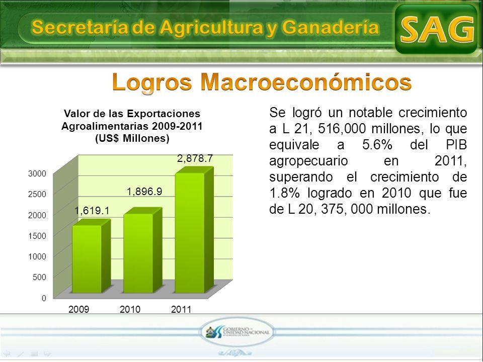 Se logró un notable crecimiento a L 21, 516,000 millones, lo que equivale a 5.6% del PIB agropecuario en 2011, superando el crecimiento de 1.8% lograd