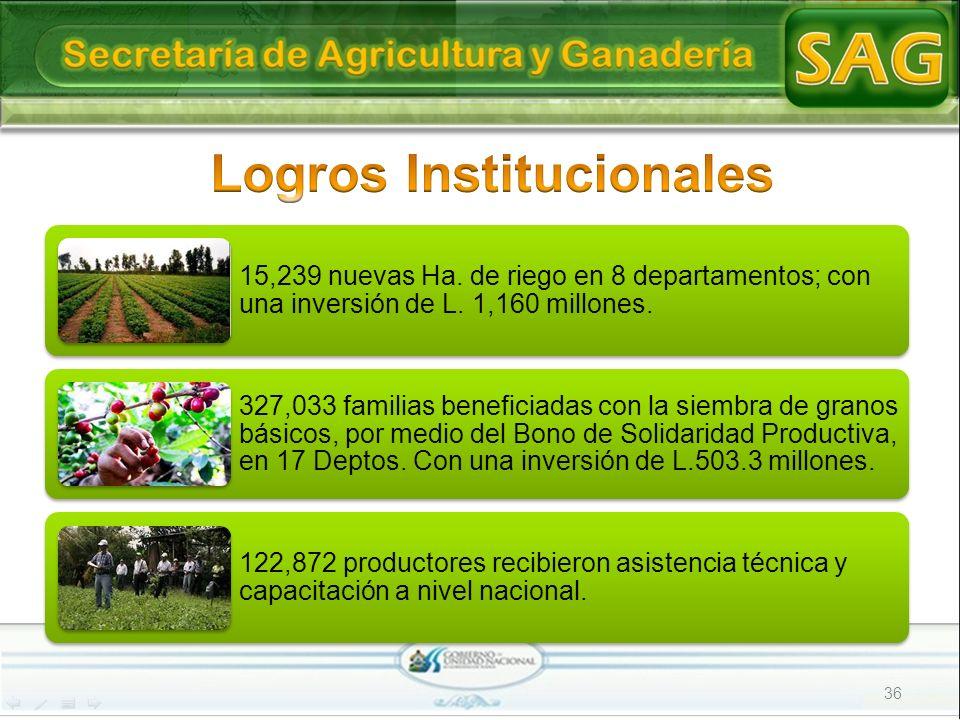15,239 nuevas Ha. de riego en 8 departamentos; con una inversión de L. 1,160 millones. 327,033 familias beneficiadas con la siembra de granos básicos,