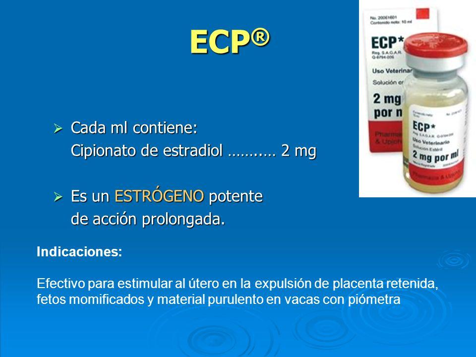 ECP ® Cada ml contiene: Cada ml contiene: Cipionato de estradiol ……..… 2 mg Es un ESTRÓGENO potente Es un ESTRÓGENO potente de acción prolongada. Indi