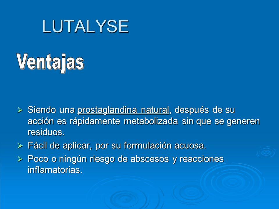 LUTALYSE Siendo una prostaglandina natural, después de su acción es rápidamente metabolizada sin que se generen residuos. Siendo una prostaglandina na