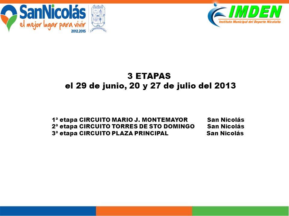 3 ETAPAS el 29 de junio, 20 y 27 de julio del 2013 1ª etapa CIRCUITO MARIO J.