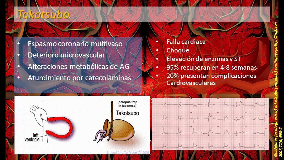 Takotsubo Espasmo coronario multivaso Deterioro microvascular Alteraciones metabólicas de AG Aturdimiento por catecolaminas Guidelines for diagnosis o