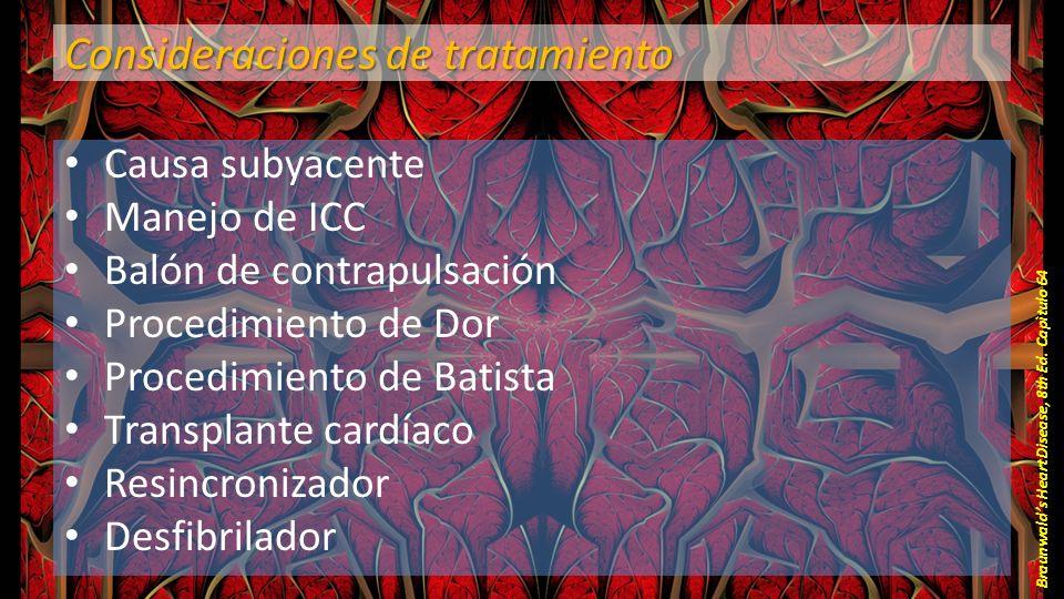Consideraciones de tratamiento Causa subyacente Manejo de ICC Balón de contrapulsación Procedimiento de Dor Procedimiento de Batista Transplante cardí