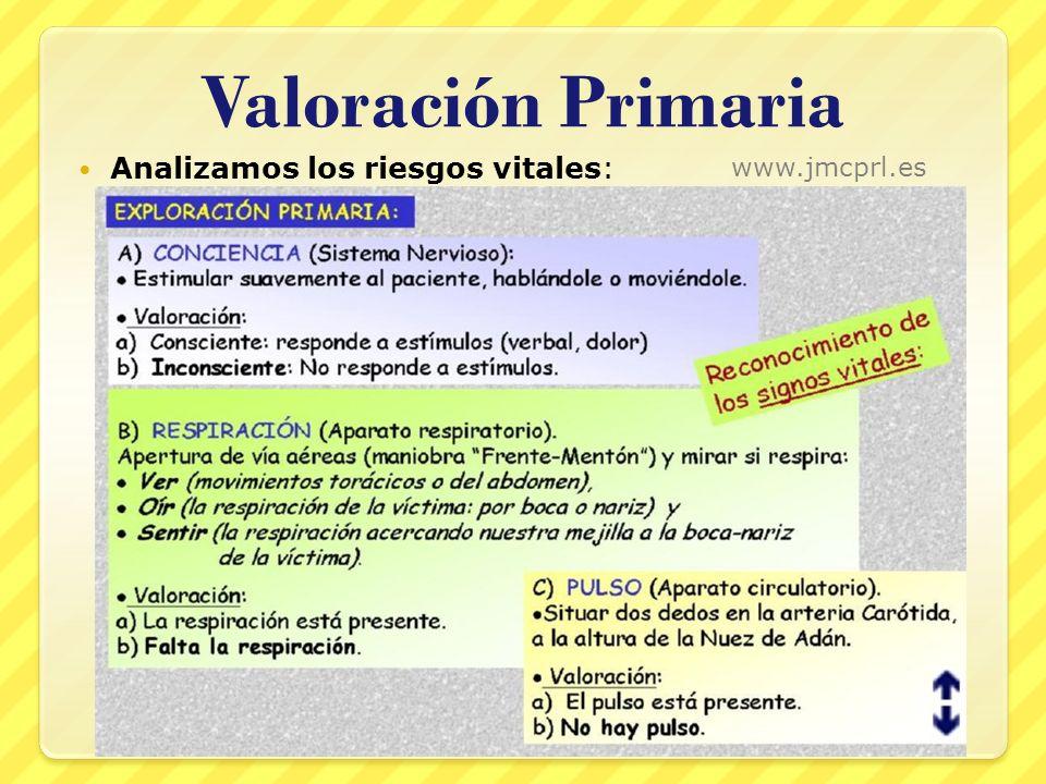 Valoración Primaria Analizamos los riesgos vitales: www.jmcprl.es