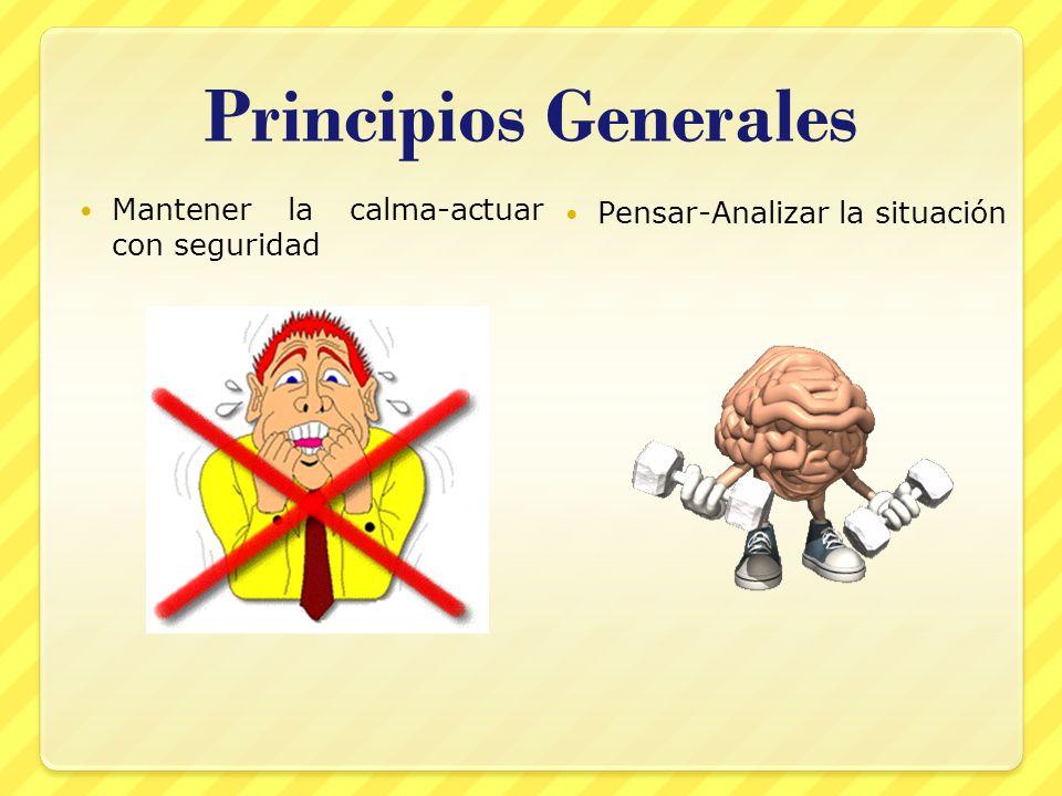 Principios Generales Mantener la calma-actuar con seguridad Pensar-Analizar la situación