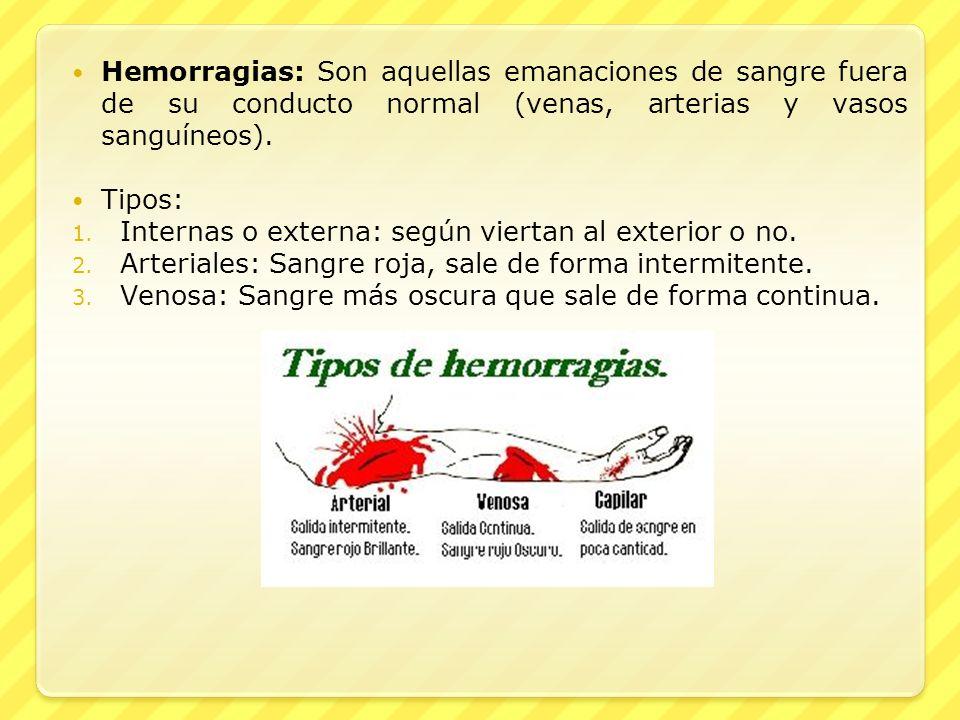 Hemorragias: Son aquellas emanaciones de sangre fuera de su conducto normal (venas, arterias y vasos sanguíneos). Tipos: 1. Internas o externa: según